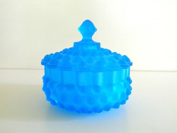 Blue Glass Candy Bowl Lid Dish