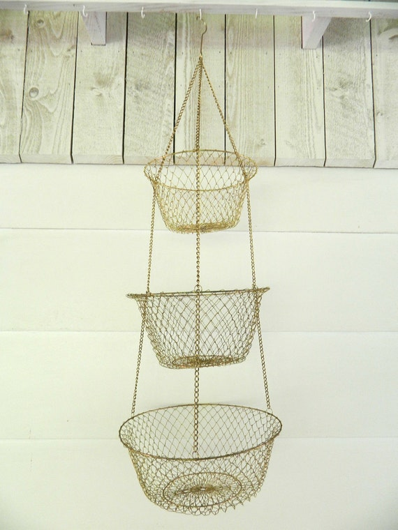 Vintage Hanging Three-Tier Fruit Basket Collapsible Metal