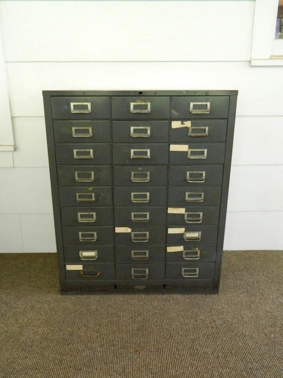 Vintage Metal Storage Cabinet Industrial Cubby Gray Drawers