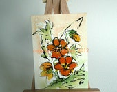 Spring, Abstract, Watercolour and Ink ACEO, Pansy Spray, OOAK