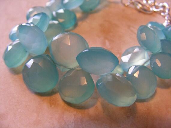 Vivid Peruvian Blue Aqua Chalcedony Bracelet