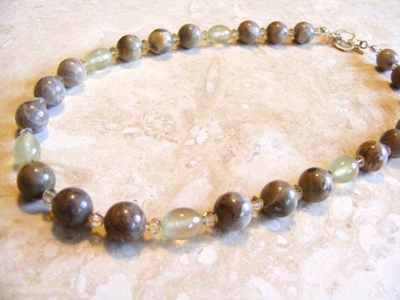 Natural Petosky Stone and Prehnite Necklace