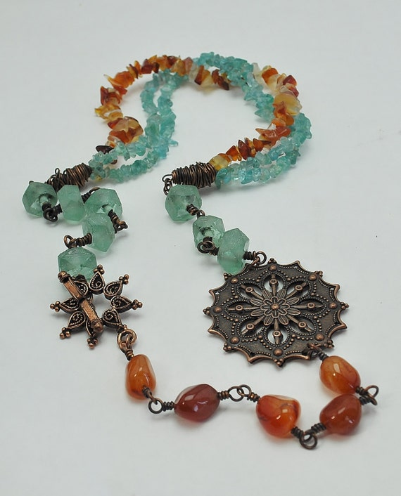Handmade Carnelian, Recycled Blue Glass and Copper Wire Wrapped Necklace with Gemstone Chips