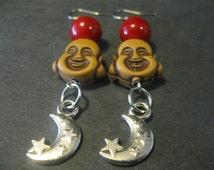 Buddha crescent moon Earrings, Crescent moon earrings