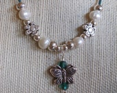 Turquoise Butterfly Leather and Pearl necklace
