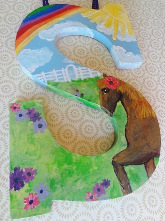 Savannah - Letter S intial wall decor. Custom painted with horse, sunshine & rainbow theme