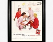 "7-Up Soda Ad - 1961 Life Magazine - ""Play Your Cards Right... Bring Out The Real Thirst-Quencher"""
