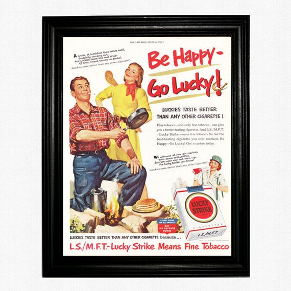 "Lucky Strike Cigarette Ad - 1951 Saturday Evening Post Magazine - ""Be Happy, Go Lucky"""
