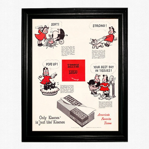 """Little Lulu Kleenex Ad - 1949 Life Magazine - """"Only Kleenex Is Just Like Kleenex - Soft, Strong, Pops Up, Your Best Buy in Tissues"""""""