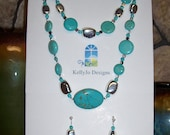 NEW Artisan Handcrafted Turquoise Silver Jewelry Set Necklace Bracelet earrings
