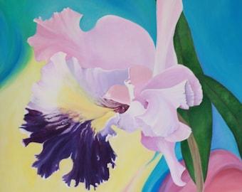 "Original Acrylic Painting Cattleya I 30""x30"""