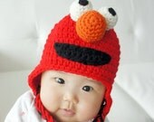 Elmo Hat, Monster Hat, Crochet Baby Hat, Animal Hat, photo prop, red, Inspired by Elmo on Sesame Street - stylishbabyhats
