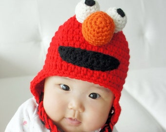 Elmo Hat, Monster Hat, Crochet Baby Hat, Animal Hat, photo prop, red, Inspired by Elmo on Sesame Street