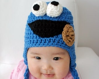 Cookie Monster Hat, Speedy, Crochet Baby Hat, Animal Hat, photo prop, red, Inspired by Cookie Monster on Sesame Street