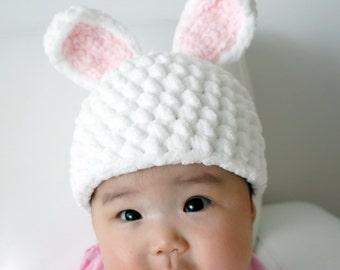 Easter Bunny Hat, Rabbit Hat, Crochet Bunny Hat, Crochet Baby Hat, Baby Hat, Animal Hat, photo prop