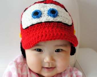 Lightning McQueen hat, Cars hat, Crochet Baby Hat, Baby Hat, Red, photo prop, Inspired by Cars, NASCAR