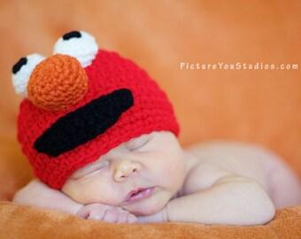 Crochet Elmo Hat, Crochet Baby Hat, Monster Hat, Animal Hat, photo prop, red, Inspired by Elmo on Sesame Street