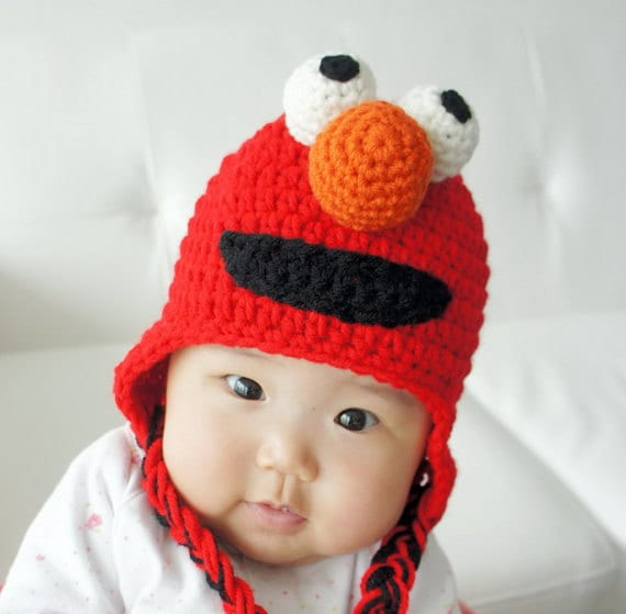 Elmo Hat, Monster Hat, Crochet Baby Hat, Animal Hat, photo prop, red, Inspired by Elmo on Sesame Street