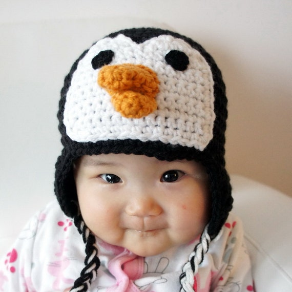 Penguin Hat, Crochet Baby Hat, Baby Hat, Animal Hat, Black, White, photo prop