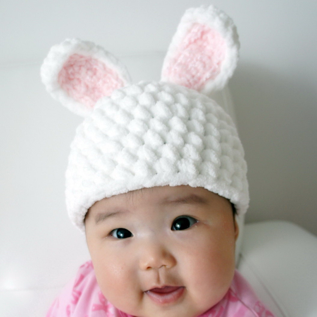 Crochet Baby Easter Hat Patterns : Easter Bunny Hat Rabbit Hat Crochet Bunny Hat Crochet Baby