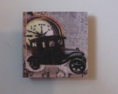 Vintage Car Compass and Sheet Music Square Mirror Tile Mini Magnet