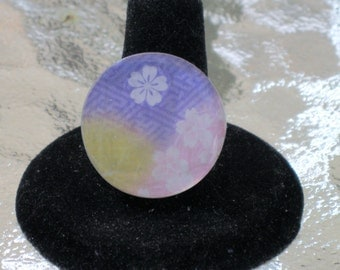 Japanese Origami Paper Purple Yellow and Pink Round Mirror Tile Adjustable Ring