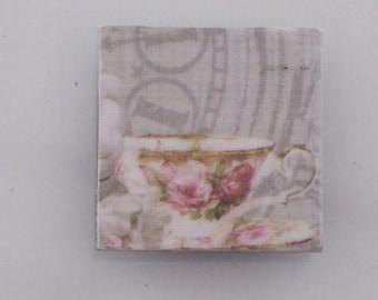 Pink Floral Teacup on Grey Vintage Clock Background Mirror Tile Mini Magnet