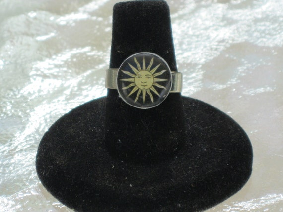 Happy Sun Black and Tan Mirror Tile Button Adjustable Ring