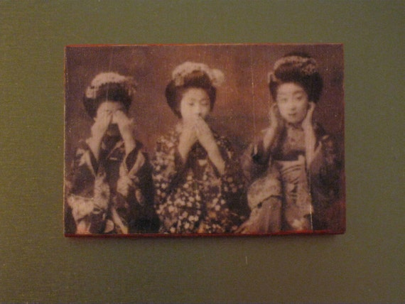 See No Evil Speak No Evil Hear No Evil Geisha Girls Vintage Photo on Red Painted Wooden Magnet