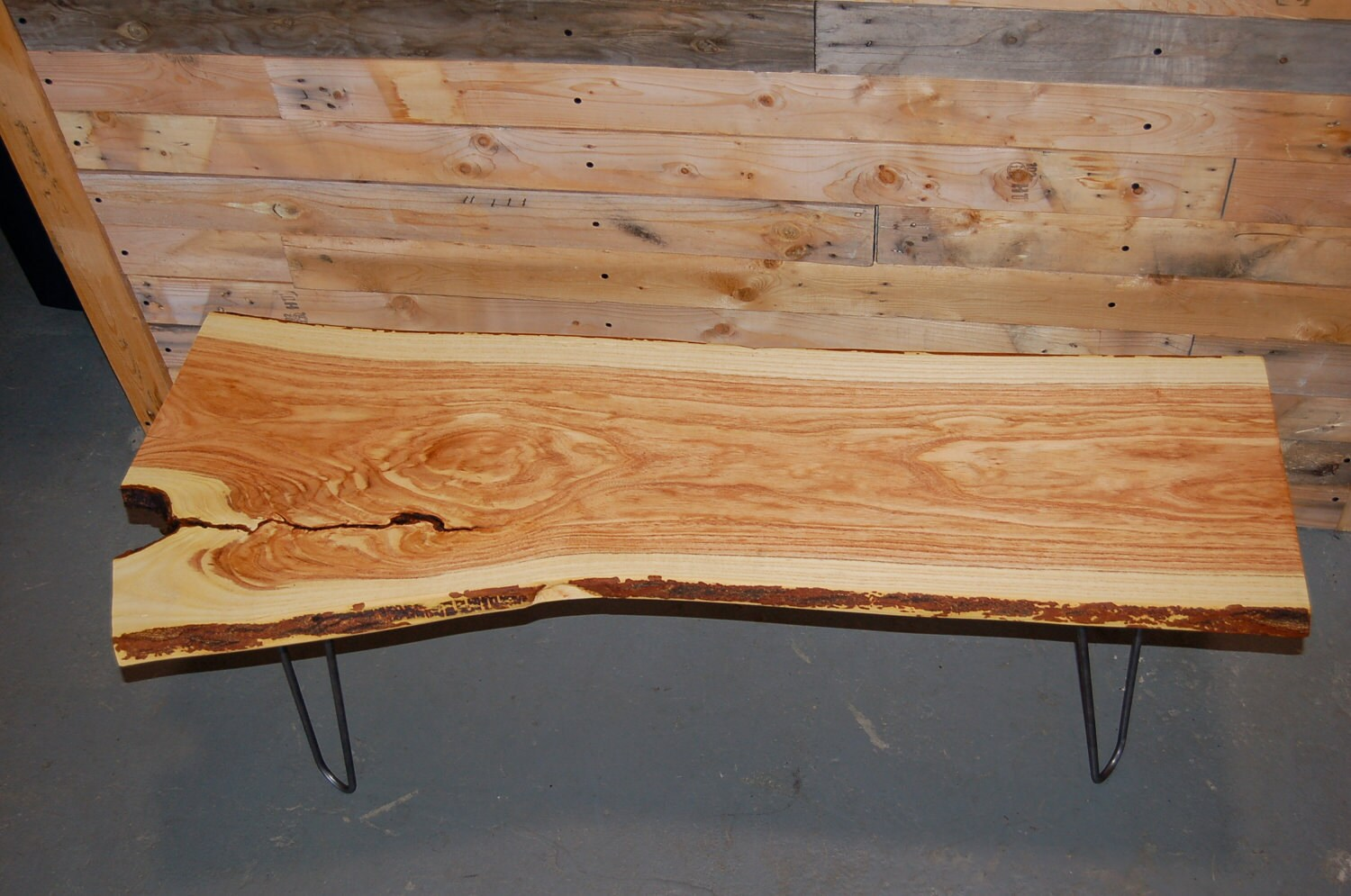 Live Edge Locust Wood Bench Coffee Table On Hairpin Legs 1