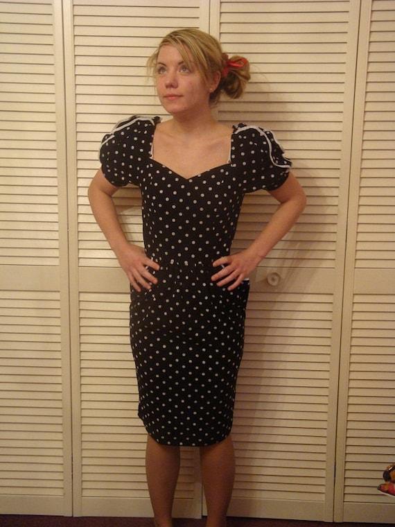 Vintage 1980s Polka Dot Puff Sleeve Wiggle Dress with Pockets Sz 4/6