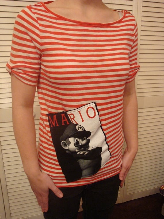 Upcycled - Ladies Shirt - Mario Applique - Red and White Stripes - Nautical - Gamer - Cotton - Sz Medium