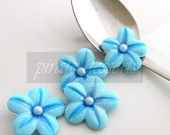 Edible Candy Flowers- Berry Blue SUGAR FLOWERS- Fondant Blossoms- Flower cupcakes- Edible cake decorations- 1 inch size  (Blue) (12 pieces)