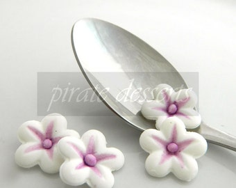 Purple and White Sugar Flowers - Half inch (12mm) Fondant Blossoms - Edible cake decorations (Purple) (12 pieces)