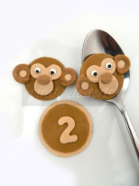 Edible cupcake toppers Baby Monkey Birthday Party cake decorations - Fondant wild things theme- Baby Shower (6 pieces)