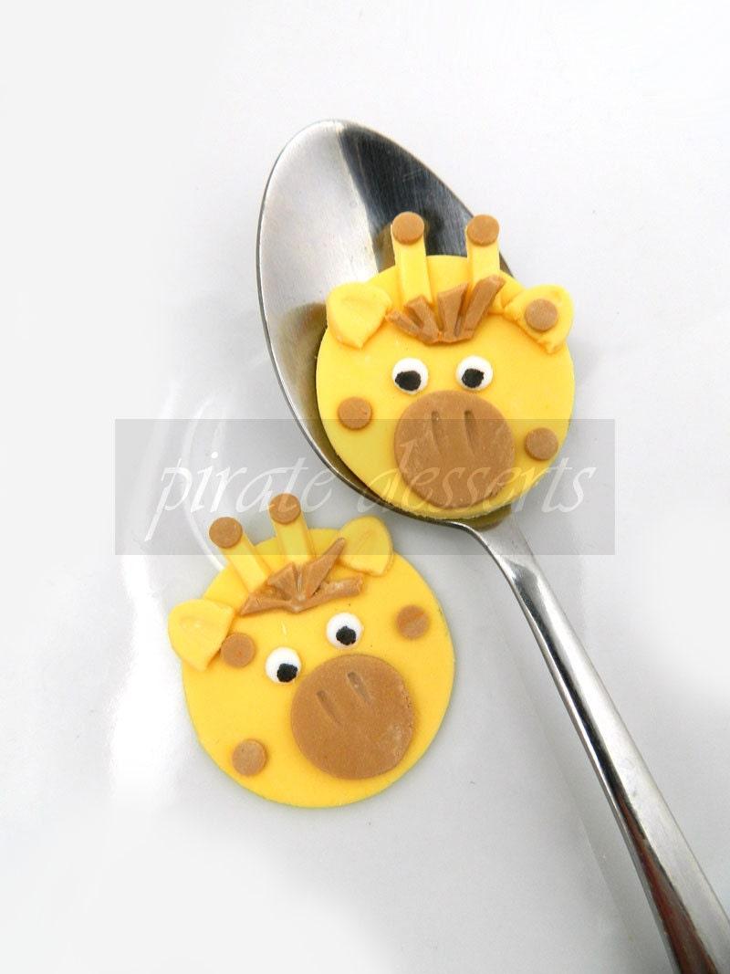 Edible cupcake toppers Baby Giraffe Birthday by PirateDessert