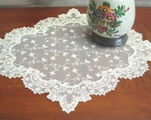 Handmade Flower Wedding VTG Antique Handmade Table Doily Runner,Embroidery&Lace 44x40cm