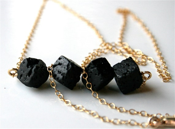 Black Lava Rock on Gold Filled Chain Necklace