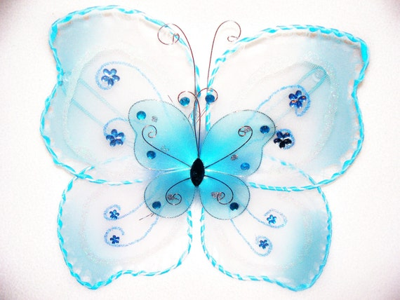 Hand Stitched Mini Blue Butterfly Double Glitter And Rhinestone Baby Toddler Girls Costume Wings Size Newborn To 2T