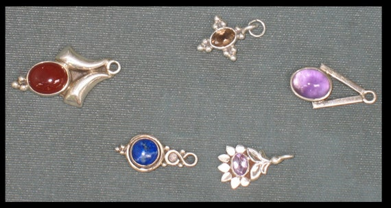Sterling silver cabochon and cut stone components 10 grams