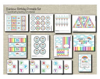 Rainbow Birthday Printable Set