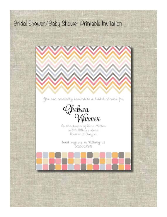 Colorful Chevron Bridal Shower/Girl baby shower printable invitation