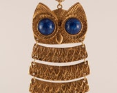 Large Vintage 1970's Gold tone articulated Owl Neckalce