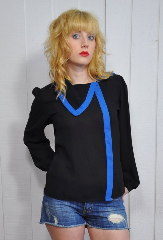 Vintage Black and bright blue sheer button down asymmetrical collar blouse