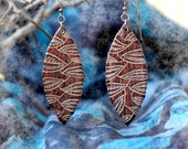 Unique Wooden Earrings with Leaves Handcarved from Brazilian rosewood super light and delicate