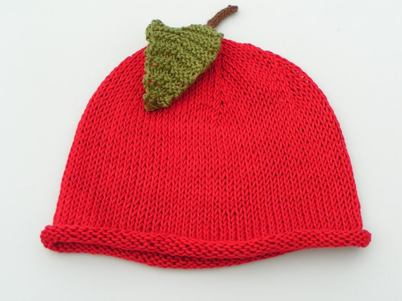 Apple Hat Knitting Pattern : Items similar to PDF KNITTING PATTERN - The Rosy Apple baby beanie inspired b...