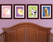 Set of Any 4 Farm Series Prints. Farm nursery art. Children's art. Kids art. Farm nursery decor. Farm animal wall art.