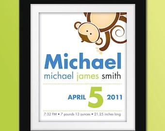 8x10 Custom Monkey Birth Announcement. Personalized Nursery Art.