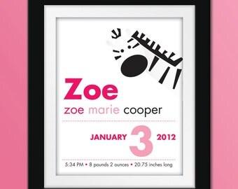 8x10 Custom Zebra Birth Announcement. Personalized Nursery Art.