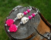 Off White Sugar Skull Day of the Dead earrings with Hot Pink Roses and Crystals